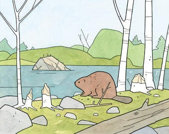 Beaver illustration art print, nature nursery wall art
