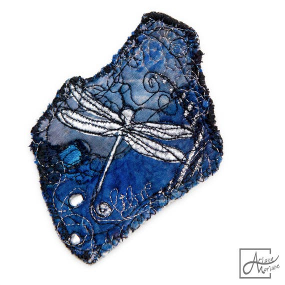 Blue brooch with silver dragonfly perfect for customizing - Unique original Fiber Art Design perfect to pin art and spread fun made in Paris
