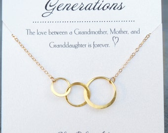 Three Generations Necklace, Grandmother Jewelry, Gift For Grandma On Wedding, Grandmother Mother Daughter Necklace, Generation Necklace Gold