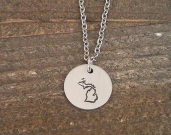 MICHIGAN hand stamped necklace