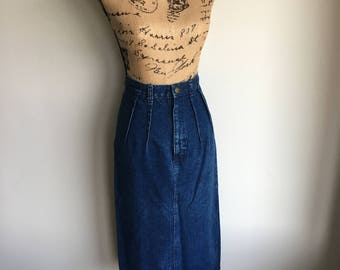 vintage denim pencil skirt   1980s   weathered blues
