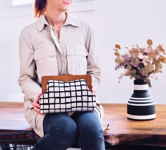 Oversized Clutch Purse, Checkered Clutch Bag, Wooden Frame Purse, Minimalist Purse, Toiletry Bag, Canvas Purse, Gingham Purse, Gifts for her