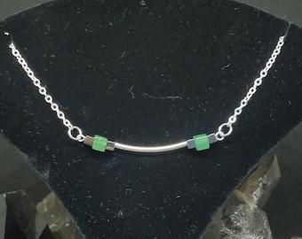 Aventurine and Hematite Silver Bar Necklace