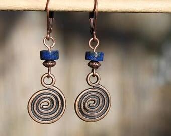 Lapis Earrings Lapis Lazuli Earrings Navy Blue Earrings Copper Earrings Dangle earrings Drop  Earrings Boho Chic Gift For women For Her