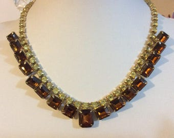Vintage 1950's Amber and peridot Rhinestone necklace
