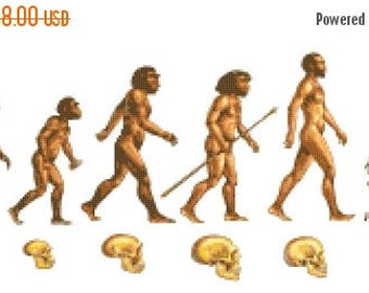 human evolution Cross Stitch Pattern Pdf evolution pattern Kräiz Stitch - 296 x 116 stitches - INSTANT Download - B1052