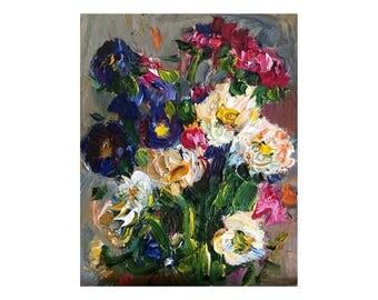 Blue, Purple and White Сhrysanthemum Flowers - Original Floral Oil Painting Thick Art Textured Flower Still Life Impasto Oils Mum Mums Bunch