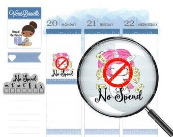 No Spend Planner Stickers, Saving stickers, Savings Tracker, Budget Stickers, Savings Planner, Budget Planner