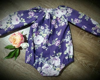 Gorgeous long sleeve baby girl romper in purple floral.