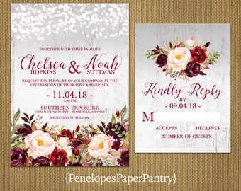 Romantic Rustic Fall Wedding Invitation,Gray,Burgundy,Marsala,Blush,Fairy Lights,Barn Wood,Rustic,Printed Invitation,Wedding Set,Envelopes