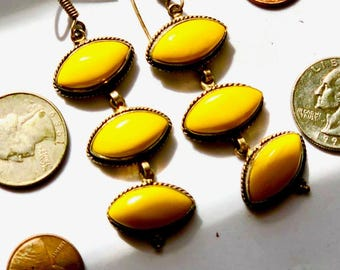 Bright yellow agate earrings