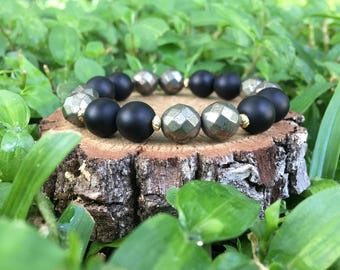 Gray Pyrite(10mm) + Matte Black Onyx Agate Bracelet