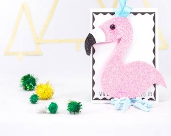 Glitter flamingo, flamingo decoration, pom pom decoration, tree decor, Christams tree decoration