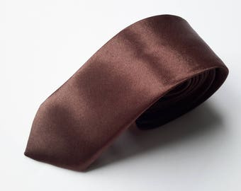 Men's Brown Neck Tie, Men's Neck Tie, Skinny Neck tie, Wedding Tie, Grooms Tie