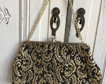 Vintage Evening Bag Black/Gold Brocade - 1950s - wedding/prom/Goodwood.