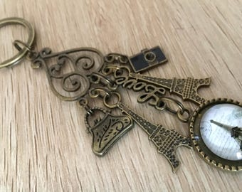 Vintage Style Antique Alloy Metal Bronze Eiffel Tower French Paris Keyring Keychain.11cm In Length