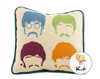 Needlepoint fab four pillow kit, Beginner Modern needlepoint kits, Music Fan Tapestry kit, Beatles tapestry kit, Needlepoint Music Lover