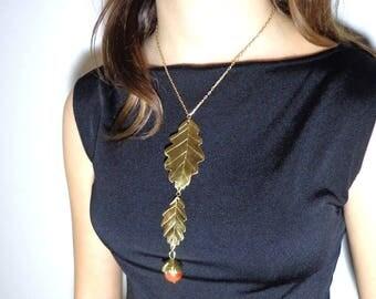 Golden oak, Elvish necklace, necklace nature daughter dream leaf necklace