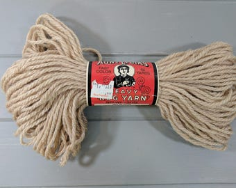 1 Vintage Aunt Lydia's Heavy Rug Yarn Skein, Color 0405 Beige, Caron International, Rochelle Illinois