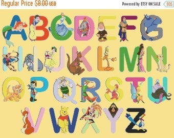"""ON SALE Counted Cross Stitch Patterns - Alphabet Disney characters - 23.64"""" x 17.71"""" - L464"""