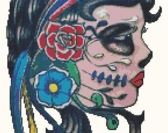 "dead girl sugar skull Counted Cross Stitch sugar skull pattern ponto cruz kreuzstitch embroidery - 9.86"" x 13.79"" - L1206"