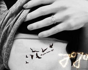swallows birds - tiny InknArt Temporary Tattoo wrist quote tattoo body sticker fake tattoowild goose small flybird flying bird