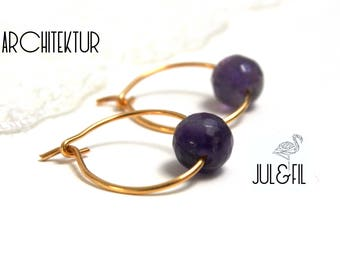 Stud Earrings gold plated 18K, Amethyst © juletfilarchitektur