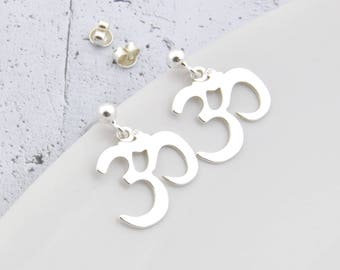 Sterling Silver ohm earrings, delicate ohm, ohm earrings, silver ohm, ohm, om, yoga, om earrings, ohm jewelry