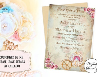 Shabby Chic Fairytale Wedding Invitation - Custom,Printable,Download,Princess Carriage