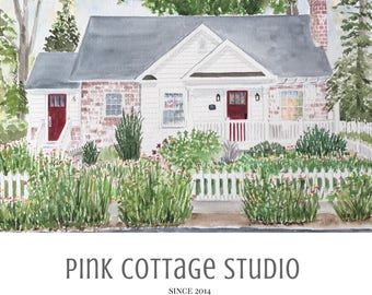 Custom house portrait, Watercolor home painting, Pink Cottage Studio, Personalized painting