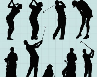 Golf silhouette Clipart, Golf Player Clipart, Sports Clipart, Golf Sports Silhouettes, Golfer Svg, SVG Files, INSTANT Download