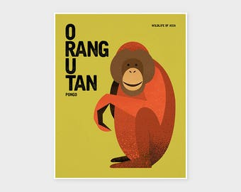 ORANG UTAN, Wildlife of Asia, Nursery Animal Wall Art, Vintage Nursery Print, Kids Animal Poster, Asian Animal Retro Poster Illustration