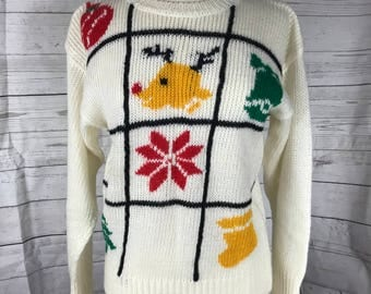 80's Christmas Sweater Knitted Rudolph Star Ornament Bell