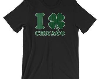 I Shamrock Chicago St Patrick's Day Irish T-Shirt   Funny Chicago Parade Day 2018 Drinking Ireland Holiday Shirt   Best Gift Short-Sleeve