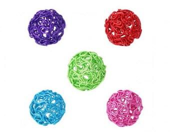 10 balls Twist 24mm multicolored beads