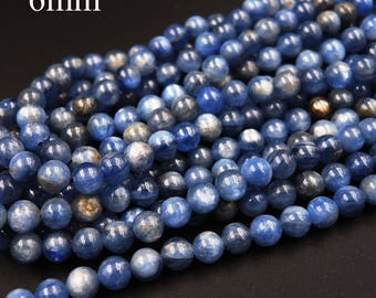 "Natural Blue Kyanite A Grade 6mm Polished Finish Round Beads 16"" Strand"