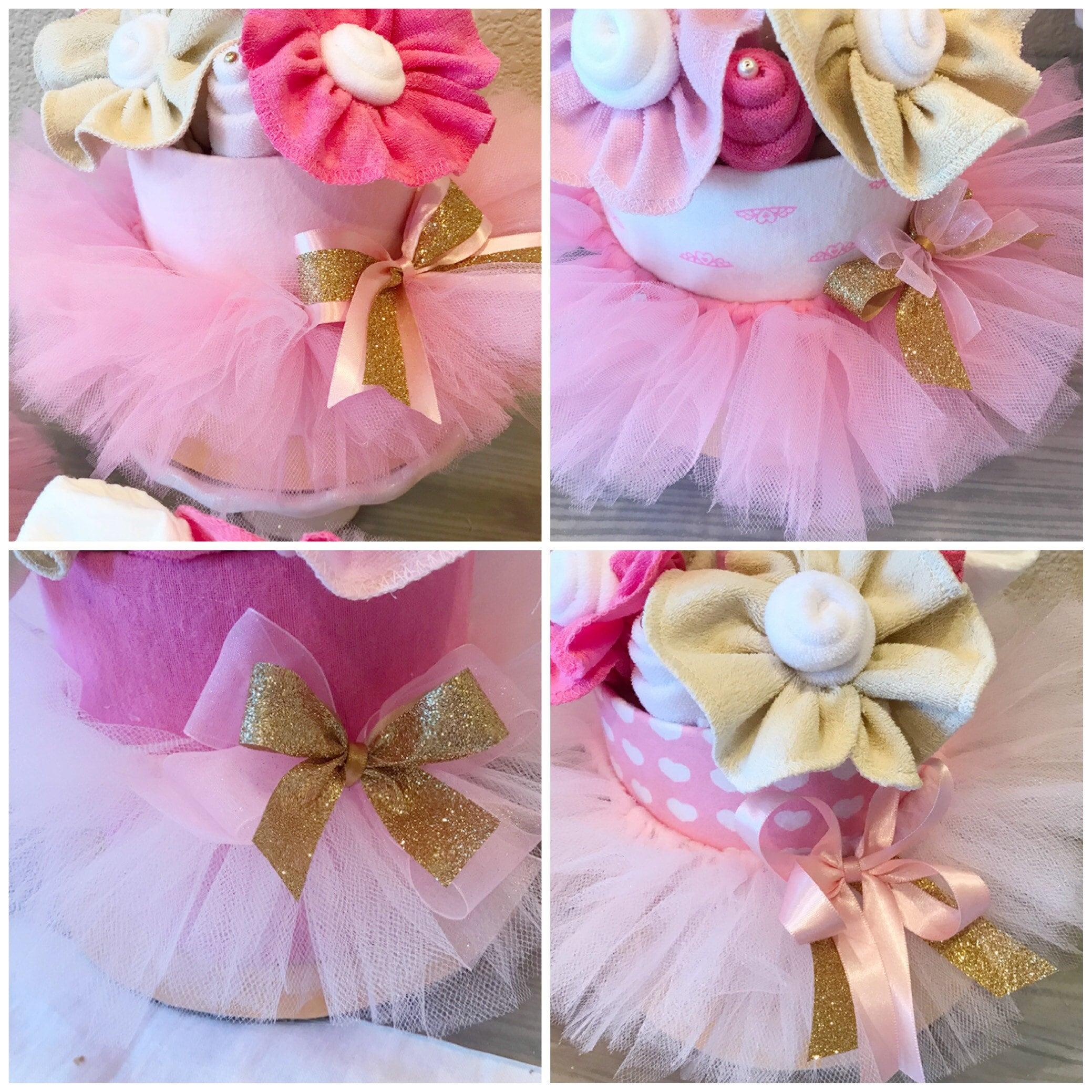 Pink tutu ballerina baby shower centerpieces and