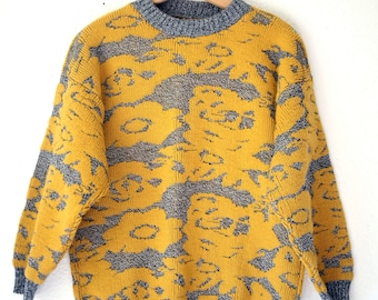 Mustard Yellow and marled black knit vintage acrylic sweater Oversized / 80s crew neck Sweater / Womens Medium Sweater Vintage / fall winter