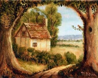 "MBevia Limited Edition Fine Art Giclee Print 5x7"" English Cottage Landscape, Paper Print"