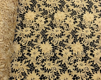 """Gold Magnolia Guipure French Venice Lace Embroidery 52"""" inches wide many colors"""