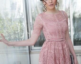 Haut Couture modest antique pink Shanie Dress