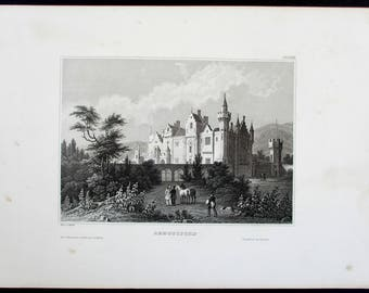 Abbotsford Scotland, Home of Sir Walter Scott. Fine Antique Steel Engraving. Circa 1850. Country House United Kingdom, UK
