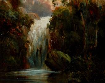 Danish Waterfall Painting, Circa 1900
