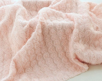 """130cm 51"""" wide 1 meter pink flannelette bottom mesh flower embroidered fabric  M37J85 free ship"""