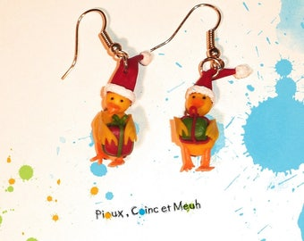 Christmas chick - polymer clay earrings
