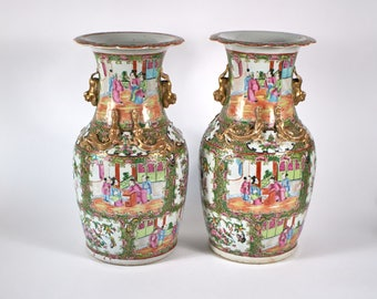 Pair of antique 19th century Chinese Famille Rose porcelain vases