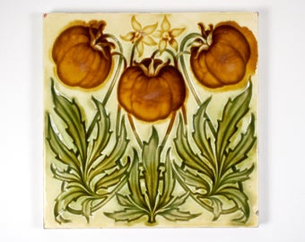 Antique 1900s English Art Nouveau Henry Richards Tile Co. Ltd tomato  pottery tile. No2.