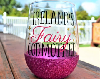 Fairy Godmother Wine Glass with Godchild's Name // 17.5oz Stemless Glittered Wine Glass // Gift for Godmother // Fairy Godmother Gift