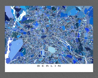Berlin Map Print, Berlin Germany, Europe City Map Art, Blue