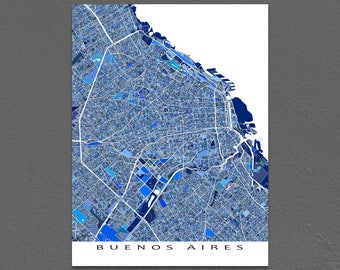 Buenos Aires Map Art Print, Buenos Aires Argentina, South America City Maps